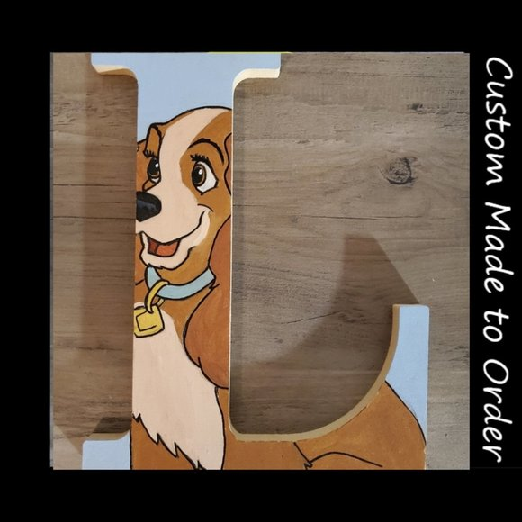 Hand painted Disney lady and the tramp letter